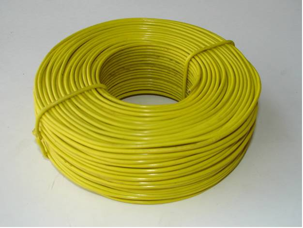 Binding wire galvanized and pvc binding wire for tying a yellow color pvc coated binding wire on the white background keyboard keysfo Choice Image